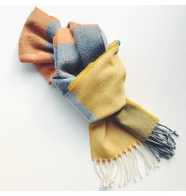 Soft Lambswool Scarf Orange & Smoke