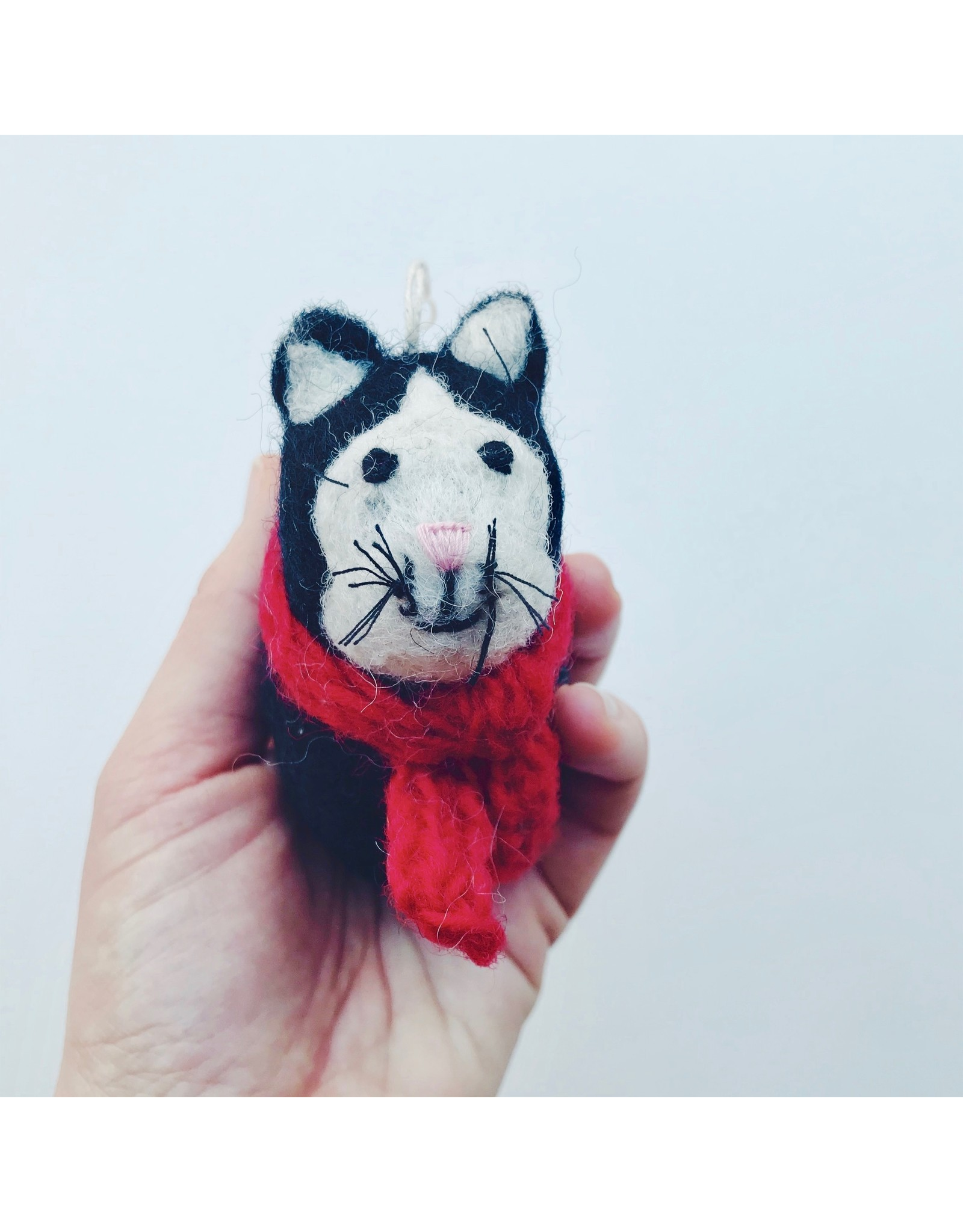 Cat With Scarf Christmas Decoration