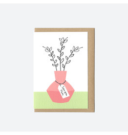 Love You Mum Pink Vase Mother's Day Card