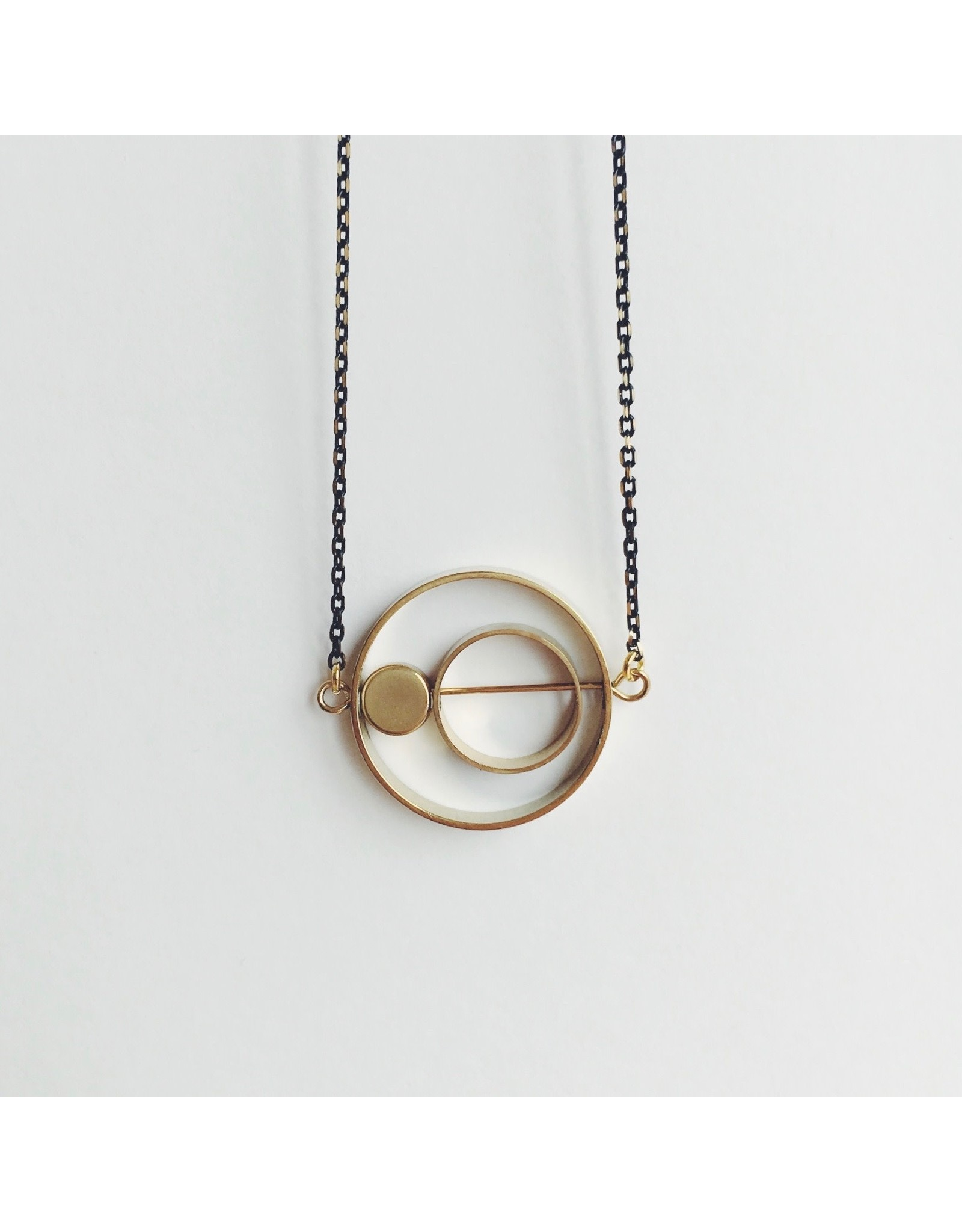 Necklace Brass Rings Within Rings
