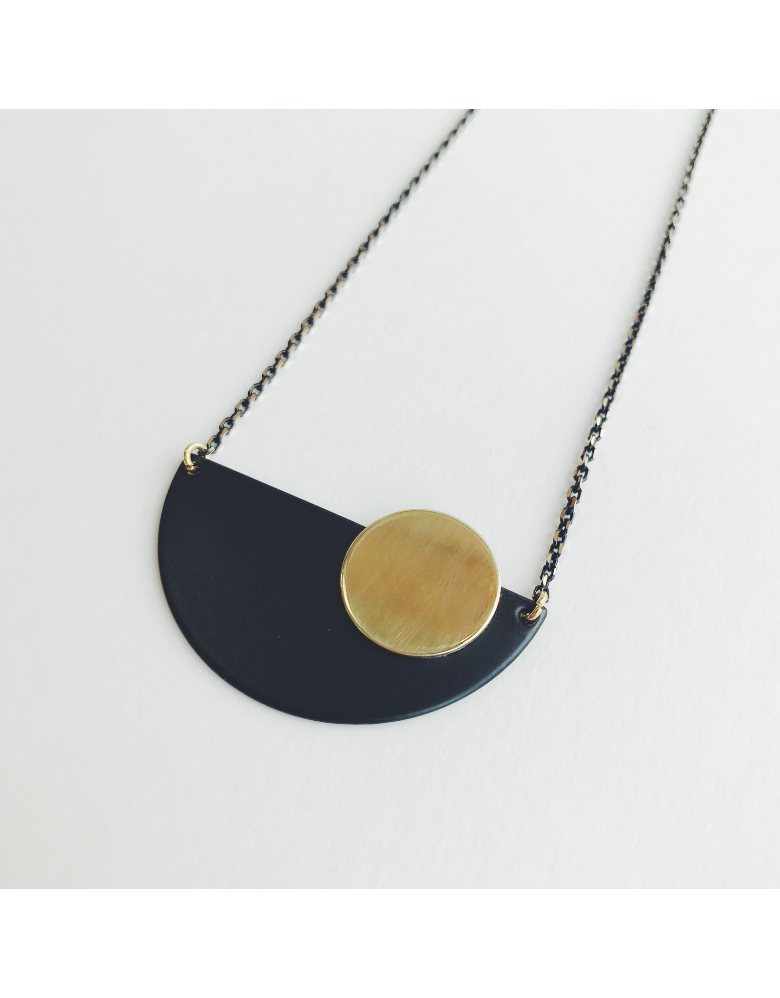 Necklace Black Crescent and Brass Disc