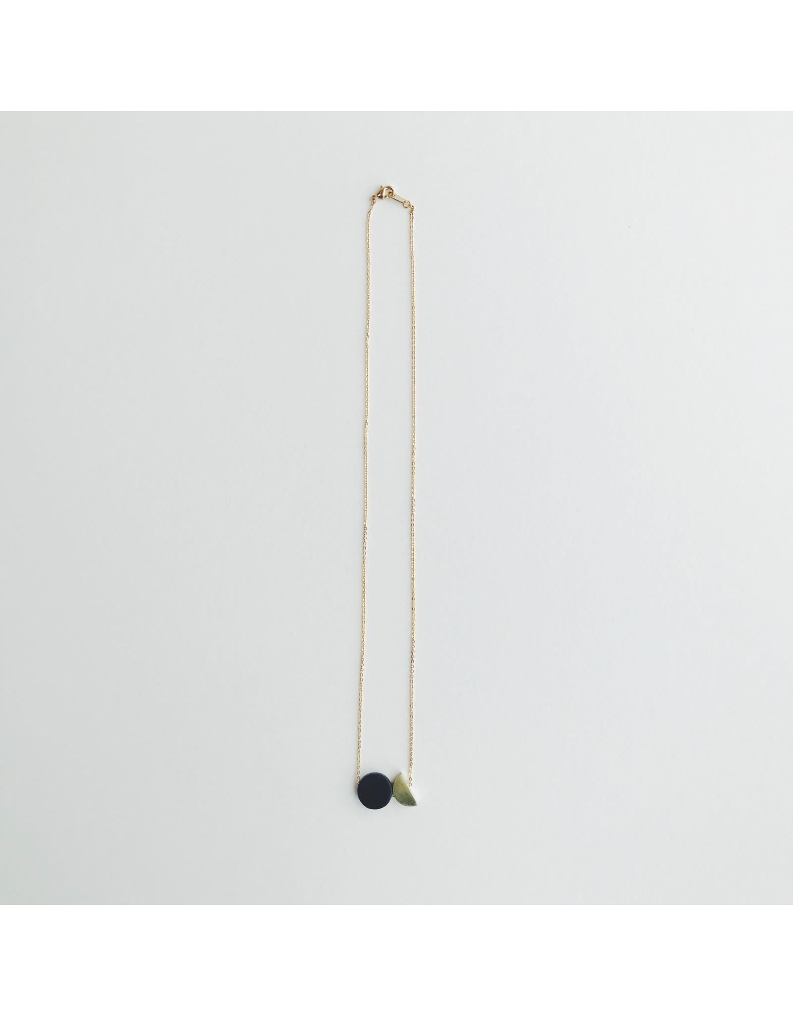 Black Disc and Brass Half Disc Necklace