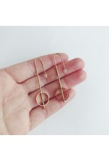 Brass Tube With Circle Earrings