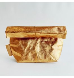 Washable Paper Make Up Bag in Gold