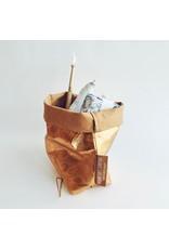 Washable Paper Make Up Bag in Gold