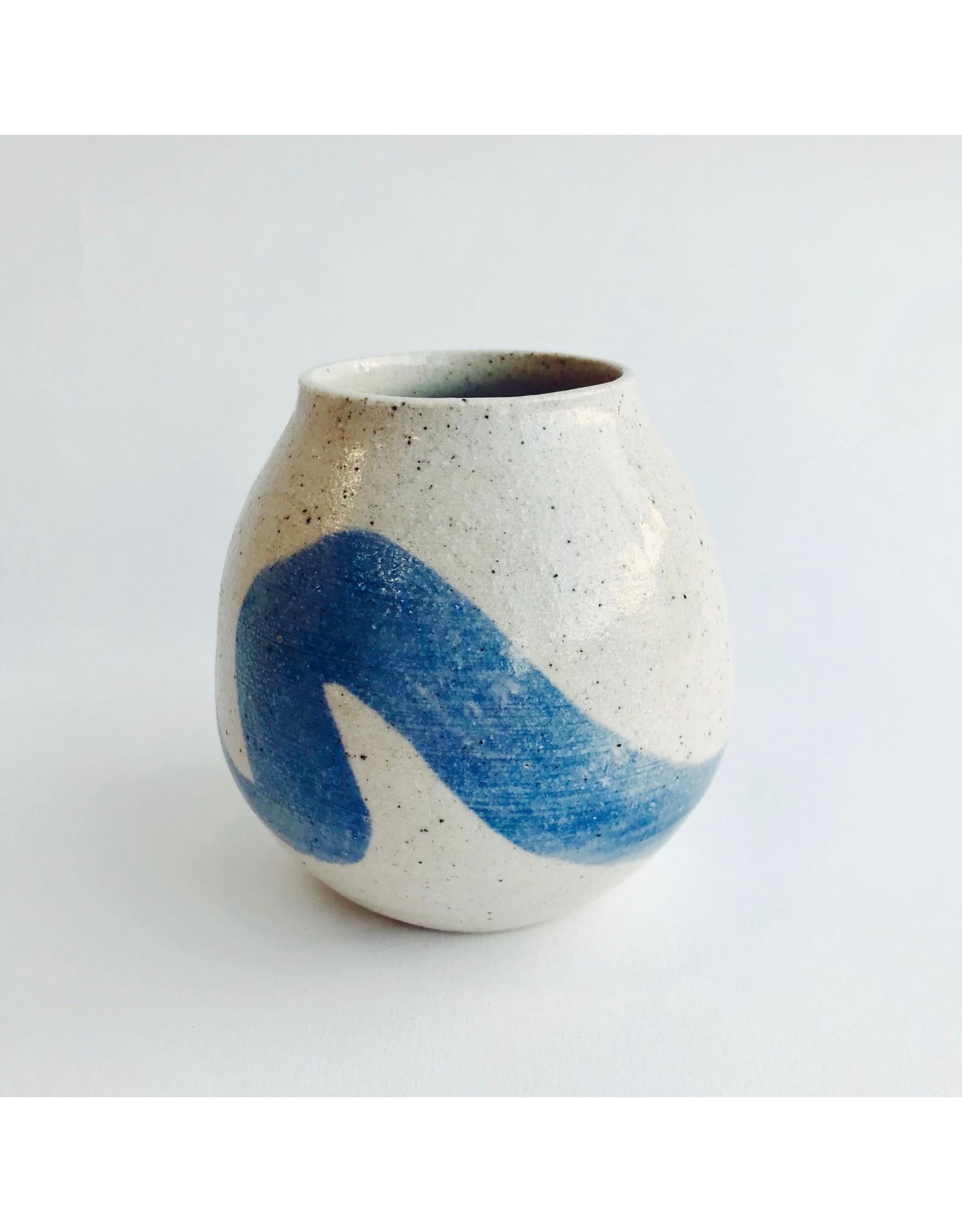 Blue Swoosh Stoneware Round Vase