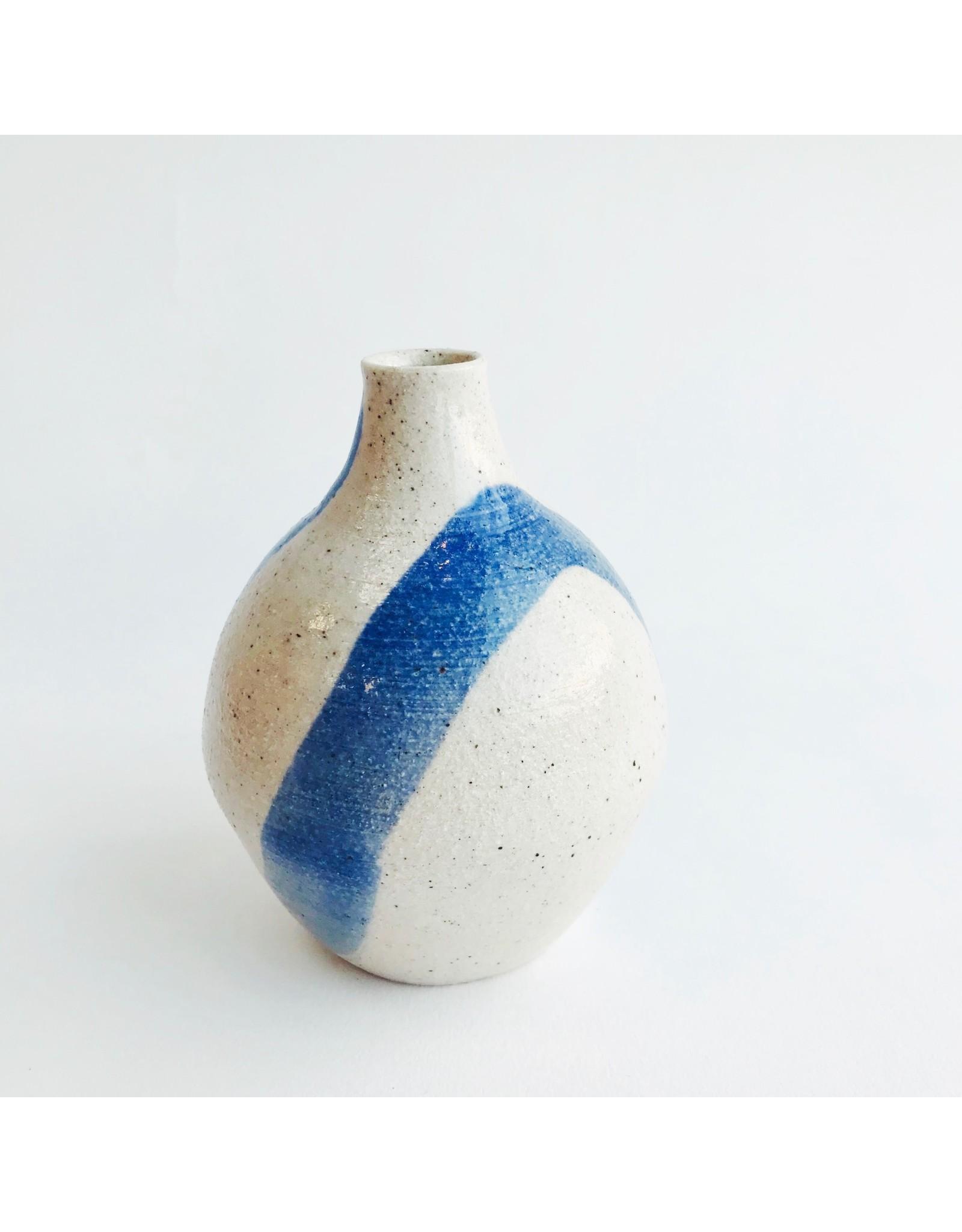 Blue Swoosh Stoneware Bud Vase