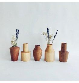 Wooden Dry Posy Vase