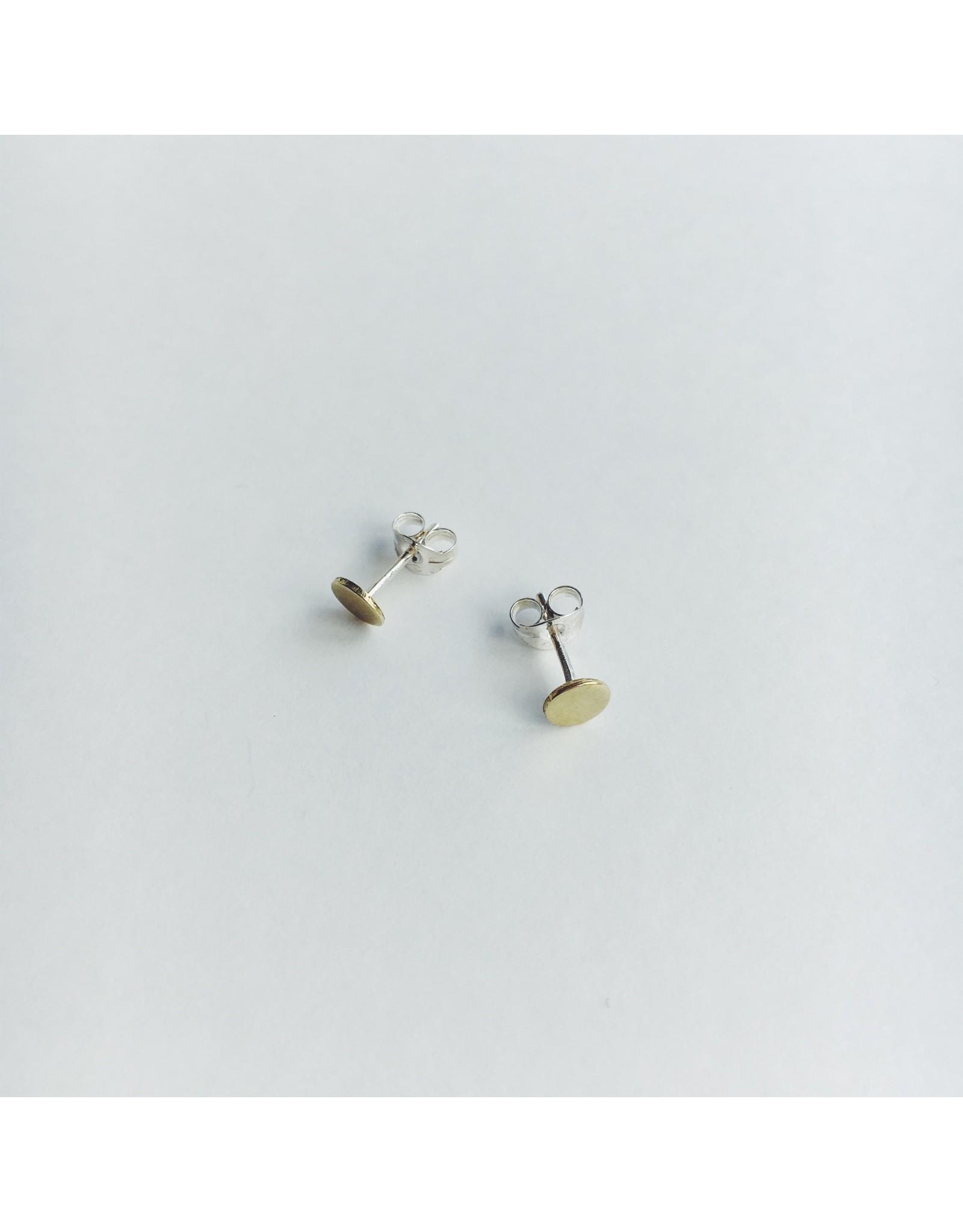 Brass Dot Stud Earrings