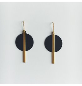 Brass Bar and Black Disc Earrings