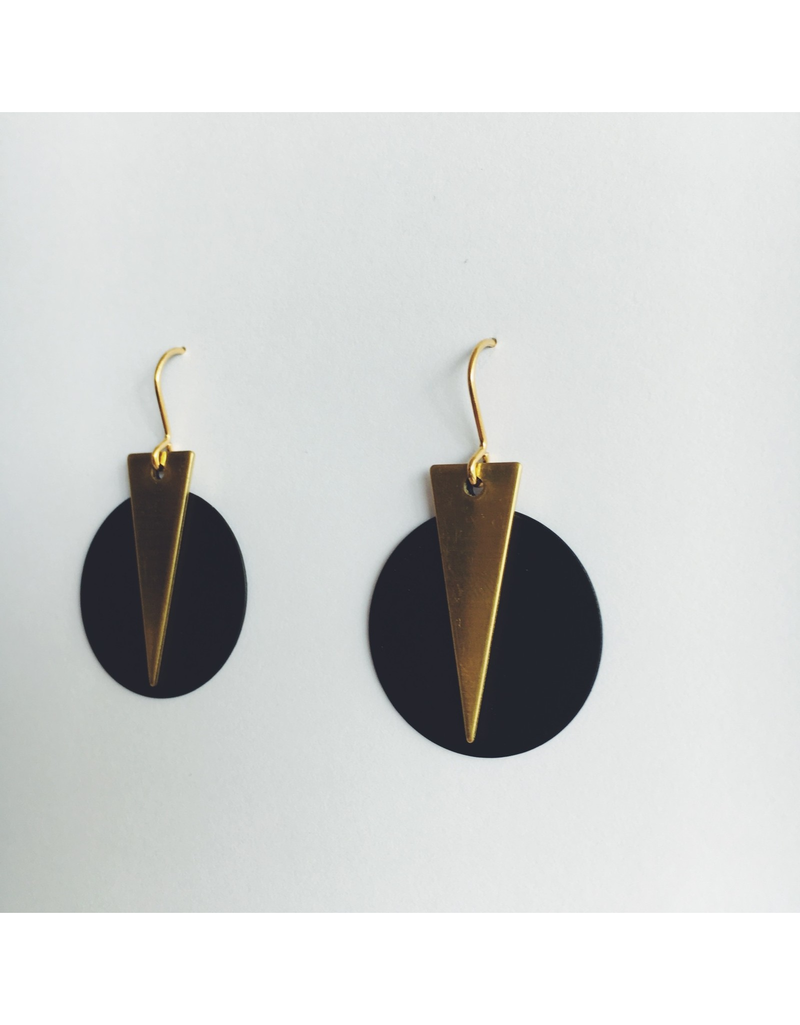 Brass Triangle and Black Disc Earrings