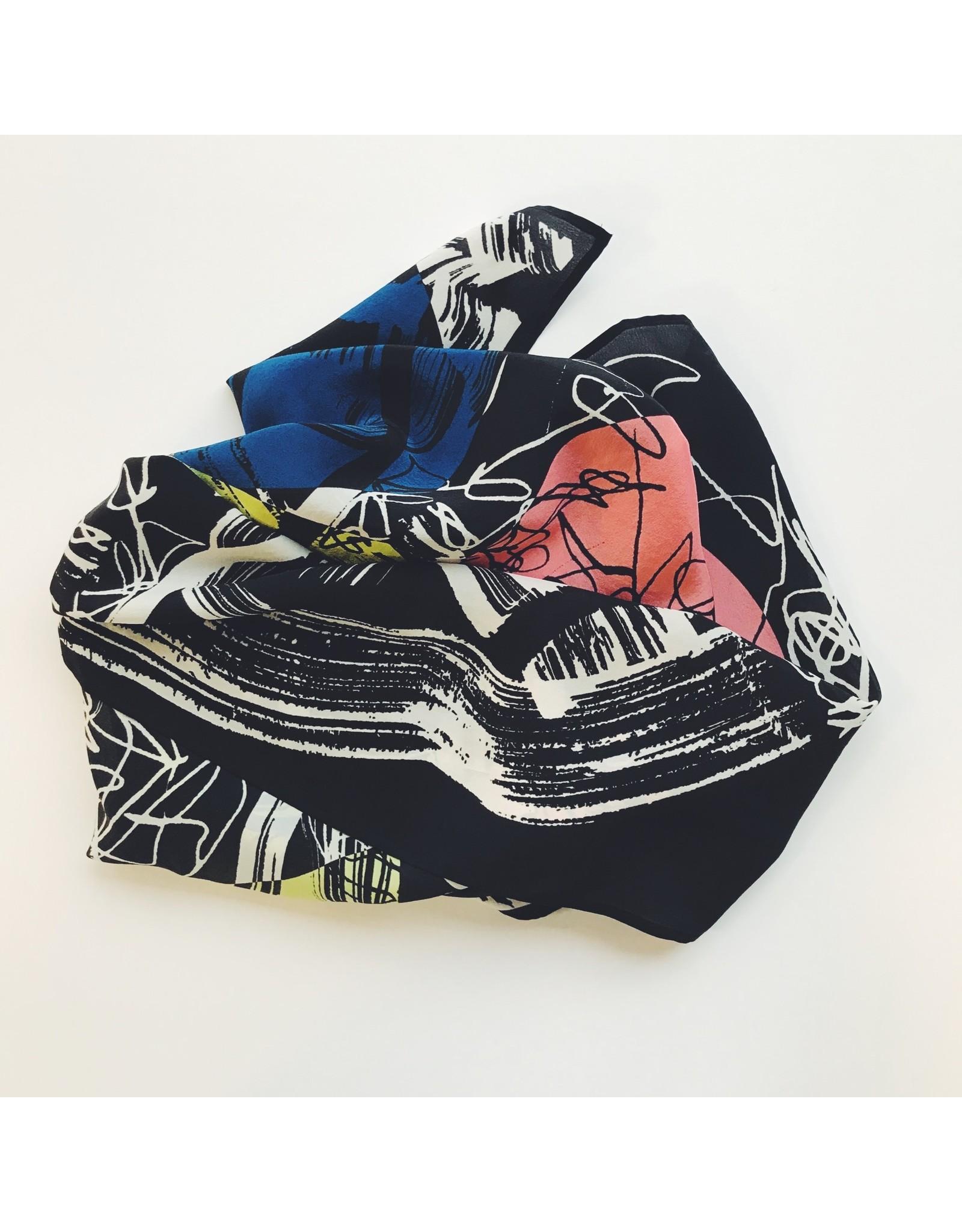 Abstract Silk Scarf - Fuji
