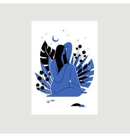 Woman in Blue A3 Print