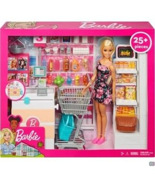 Barbie Supermarkt incl. winkelwagen en Barbiepop