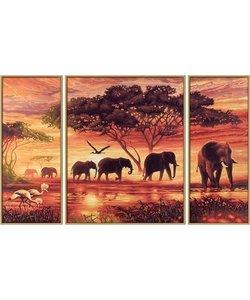 Schilderen op Nummer Triptychon - Olifanten