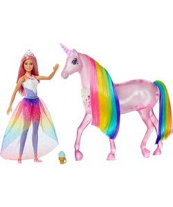 Barbie Dreamtopia Magische Lichtjes Eenhoorn met Prinsessenpop - Barbiepop