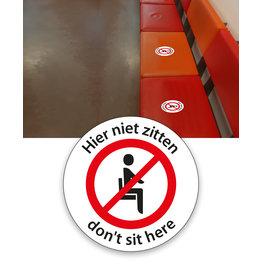 """Sticker """"don't sit here/hier niet zitten"""" 20 cm"""