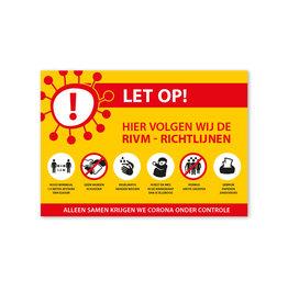 Sticker RIVM - Richtlijnen - Liggend model
