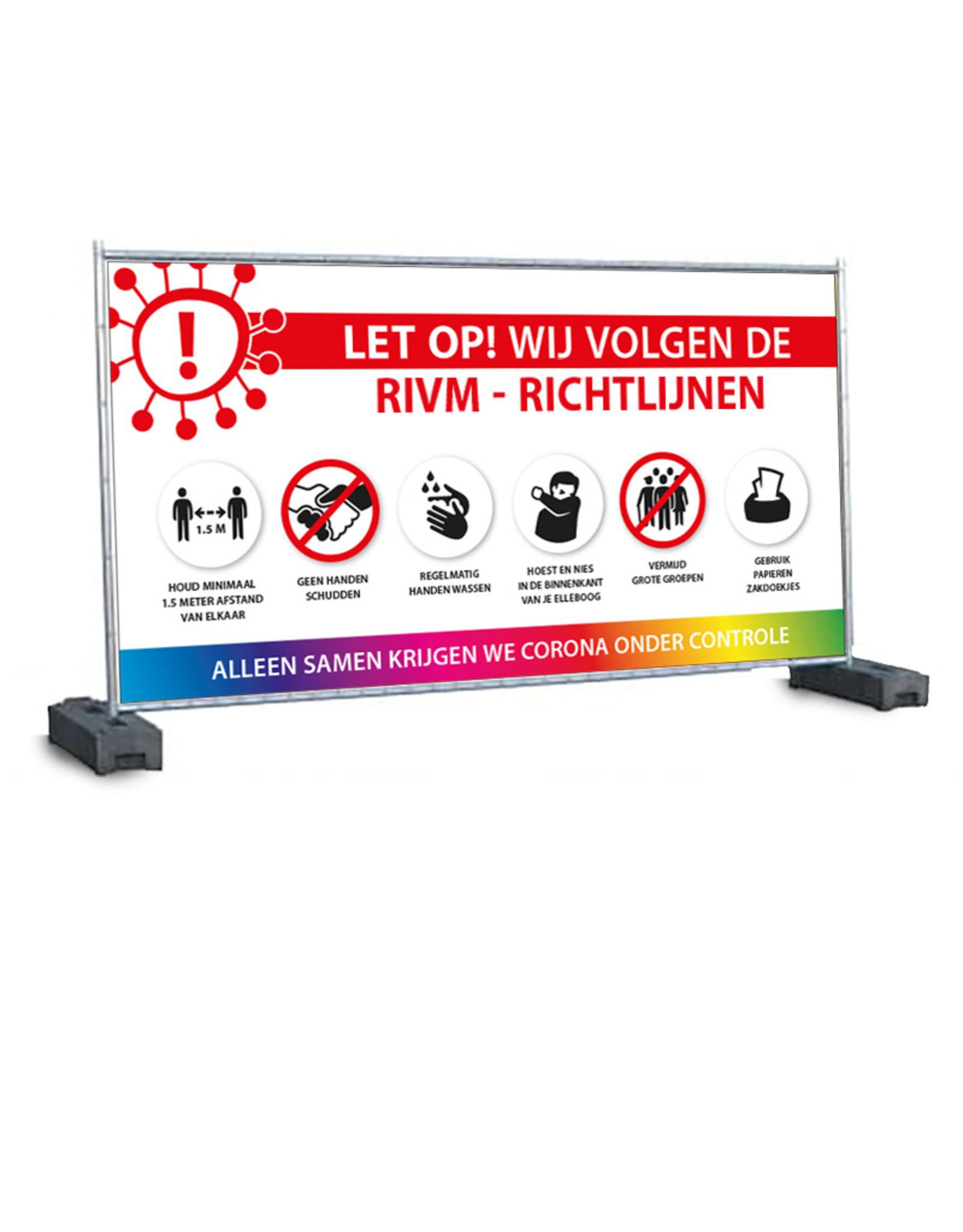 Bouwhek-spandoek RIVM - Richtlijnen (335x175cm)
