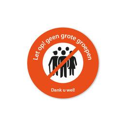 Sticker - geen grote groepen