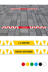 Vloersticker - Buiten - set van 6 Corona preventie vloerlijnen voor STENEN/ASFALT/BETON ondergronden