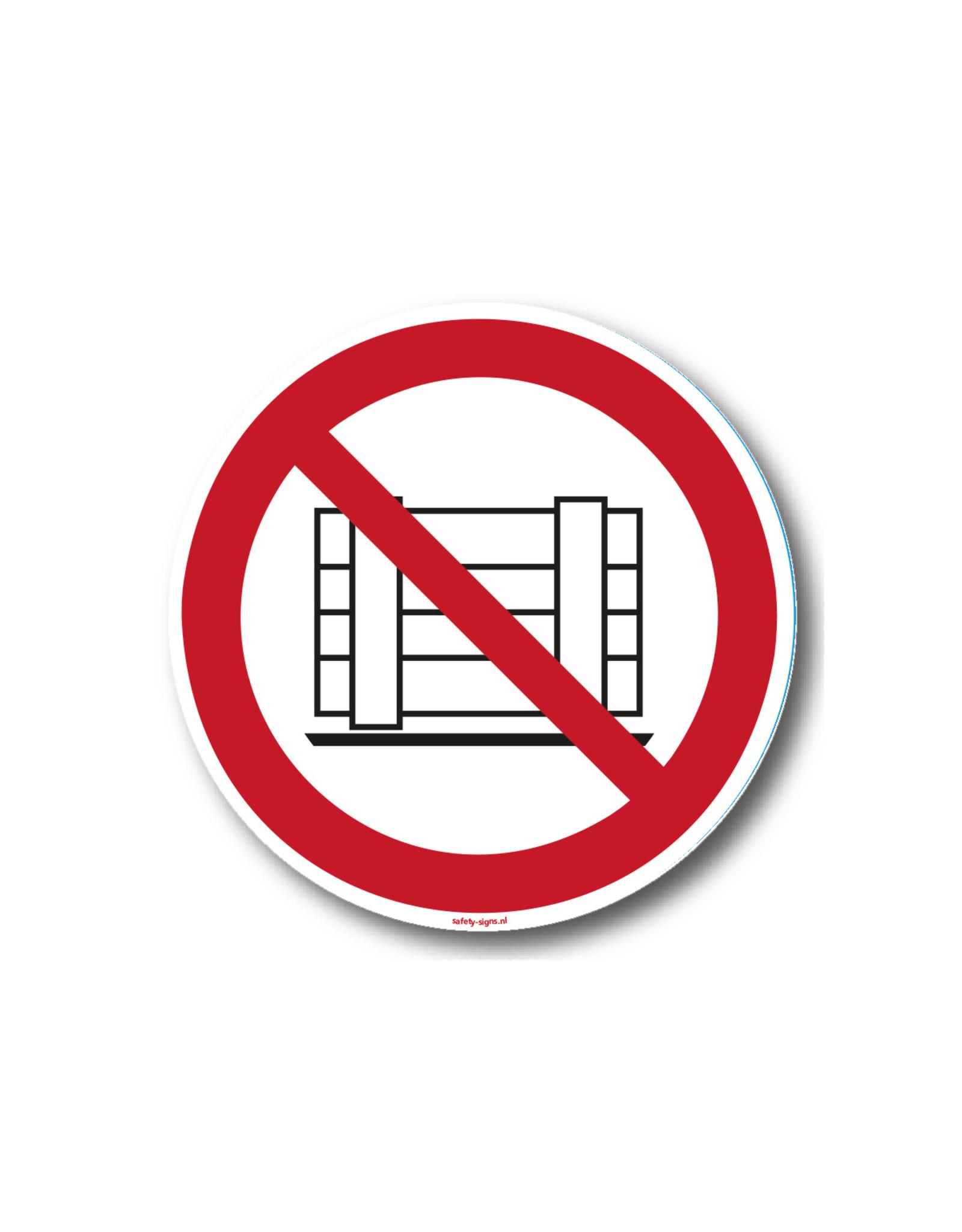 safety-signs.nl Pictogram - P023 - Verboden goederen te plaatsen - ISO 7010