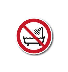 safety-signs.nl P026 - Verboden om product onder douche of in bad te gebruiken