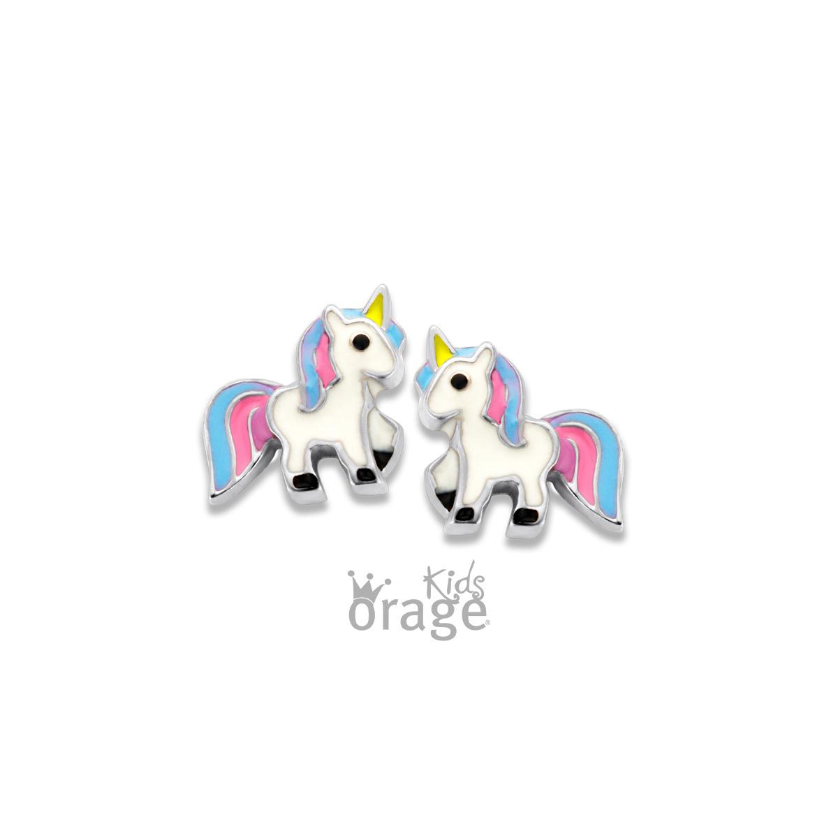 Orage kids  Oorringen eenhoorn wit blauw roze 925 rh