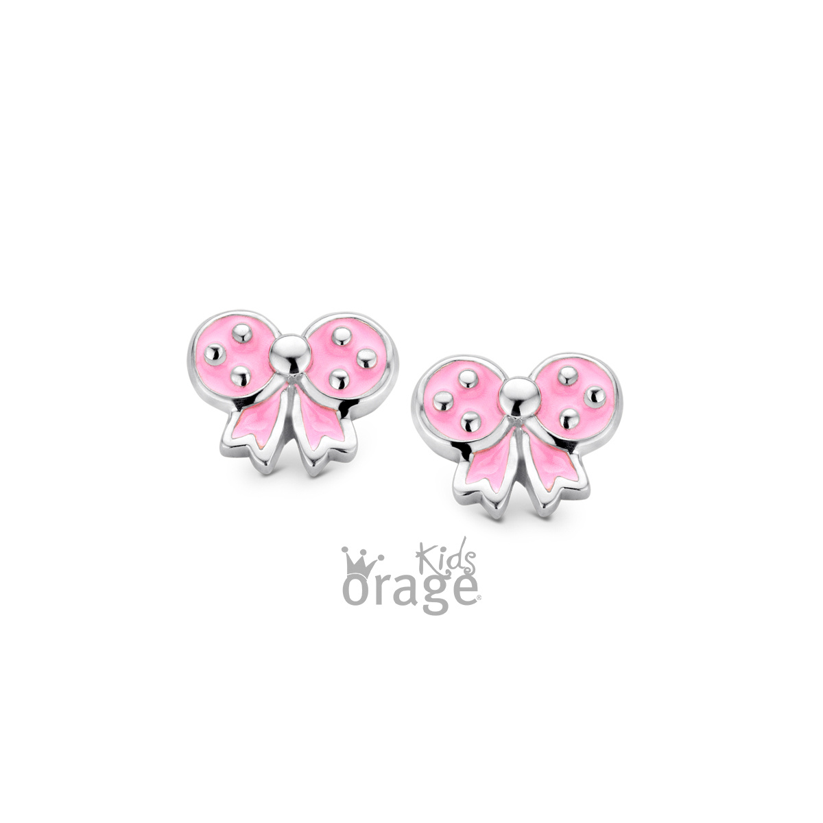 Orage kids  Oorringen roze strik 925 rh