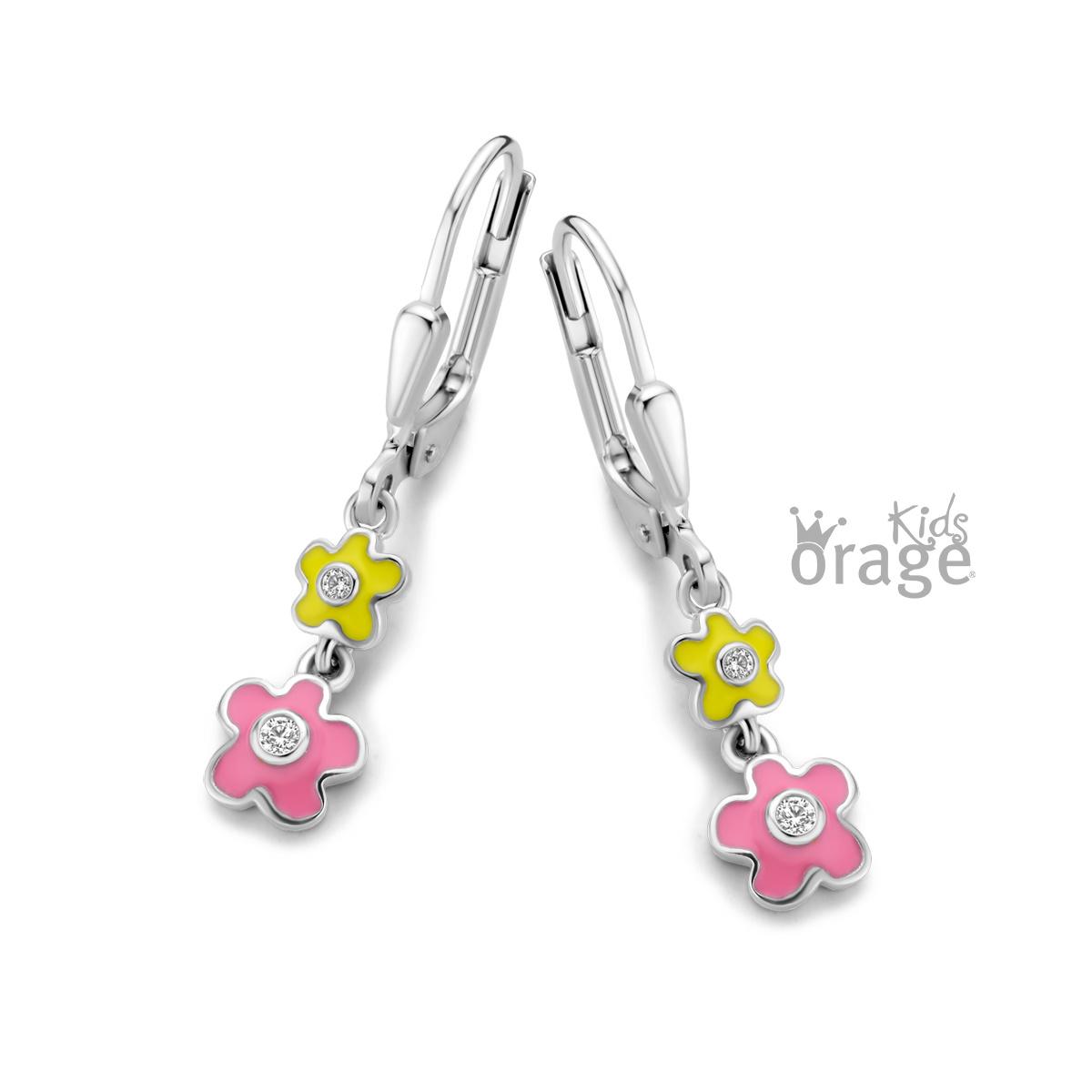 Orage kids Oorslingers bloem geel roze 925 rh