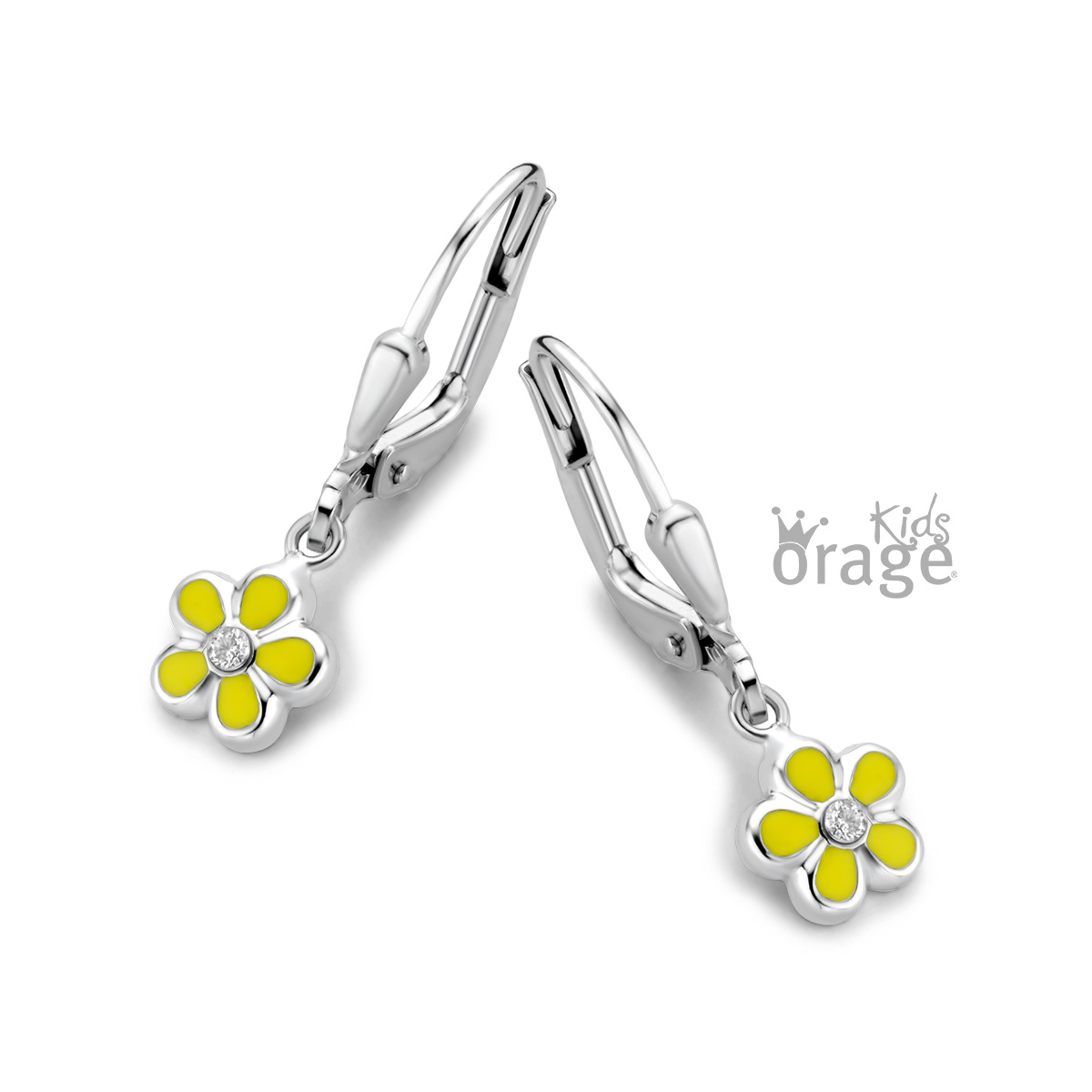 Orage kids Oorslingers bloem geel 925 rh