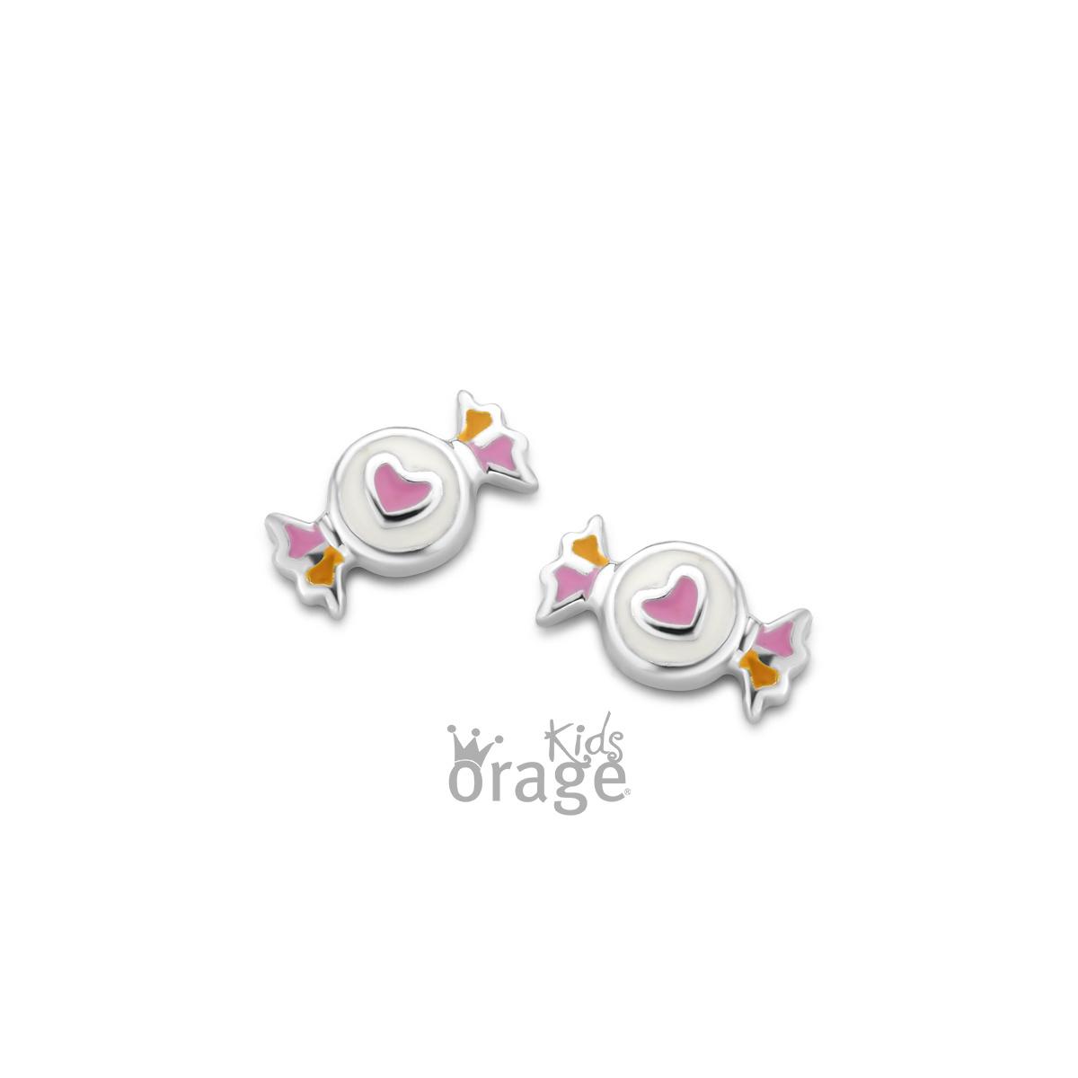Orage kids Oorringen snoepje roze geel 925 rh
