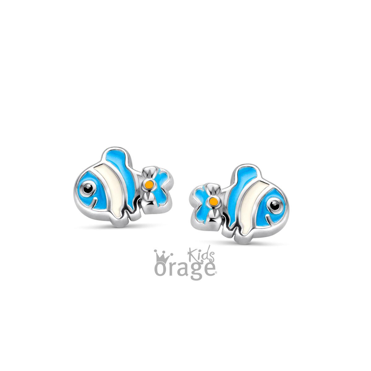 Orage kids Oorringen vis blauw