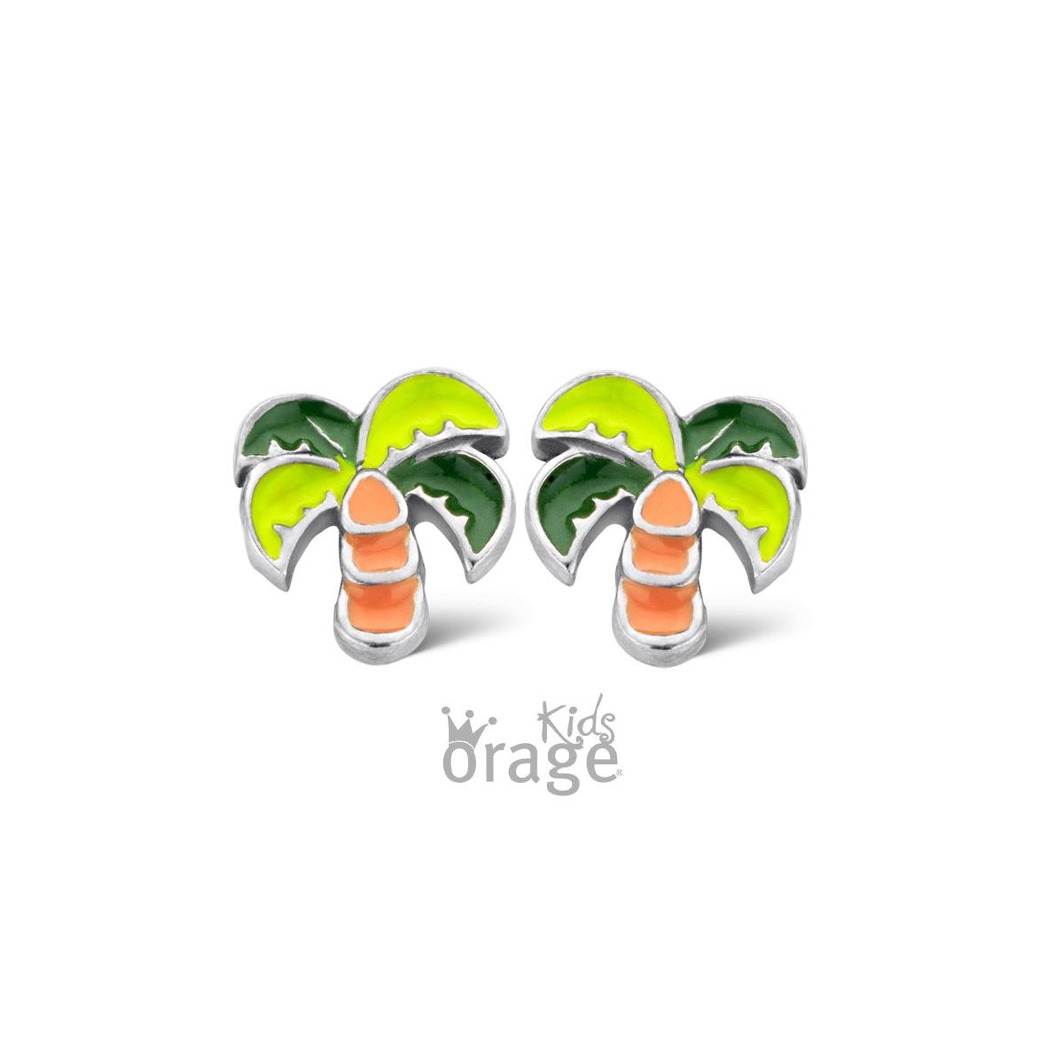 Orage kids Oorringen palmboom groen
