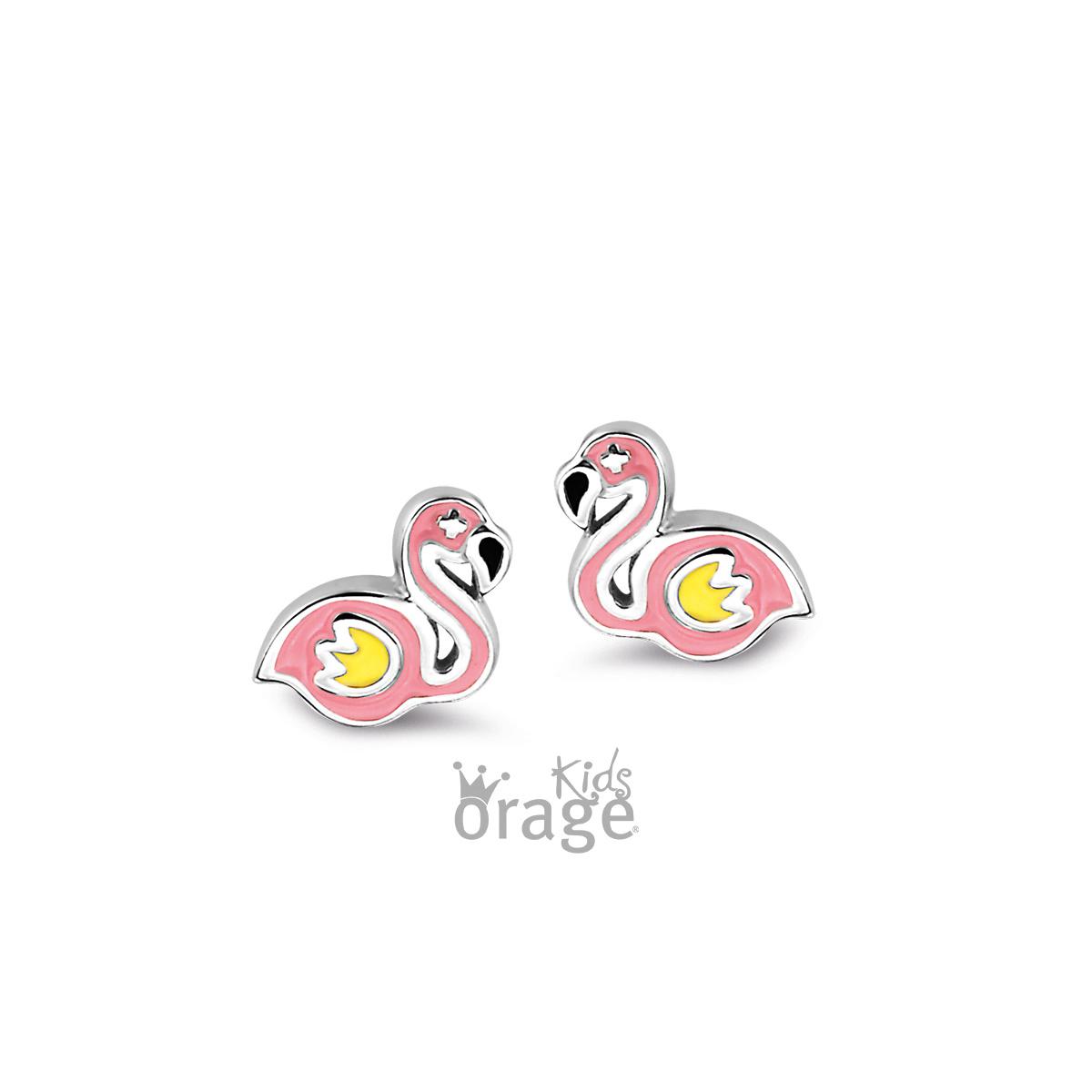 Orage kids Oorringen flamingo roze