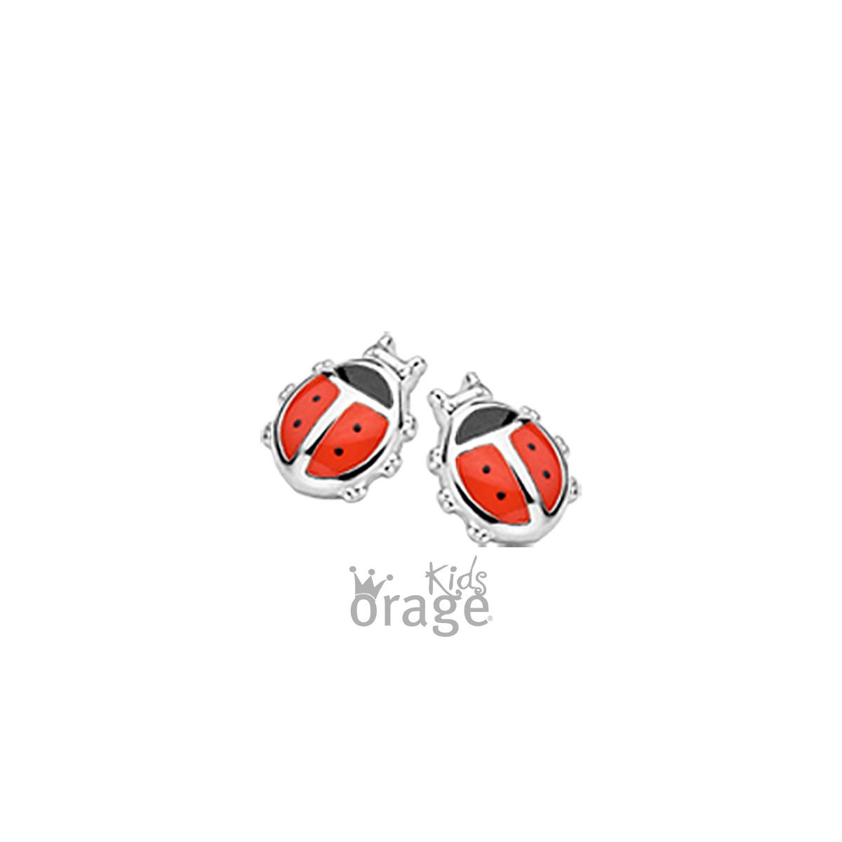 Orage K1937-K1730 Oorringen lieveheersbeestje rood 925 rh