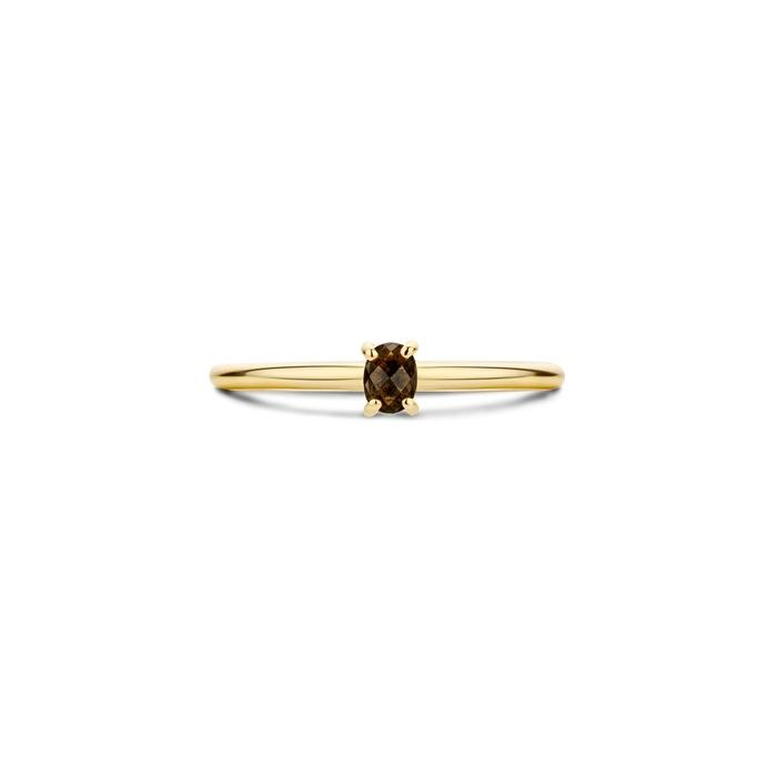 Blush Blush Ring 1204YSQ - Geelgoud met Smokey Quartz (14Krt.)
