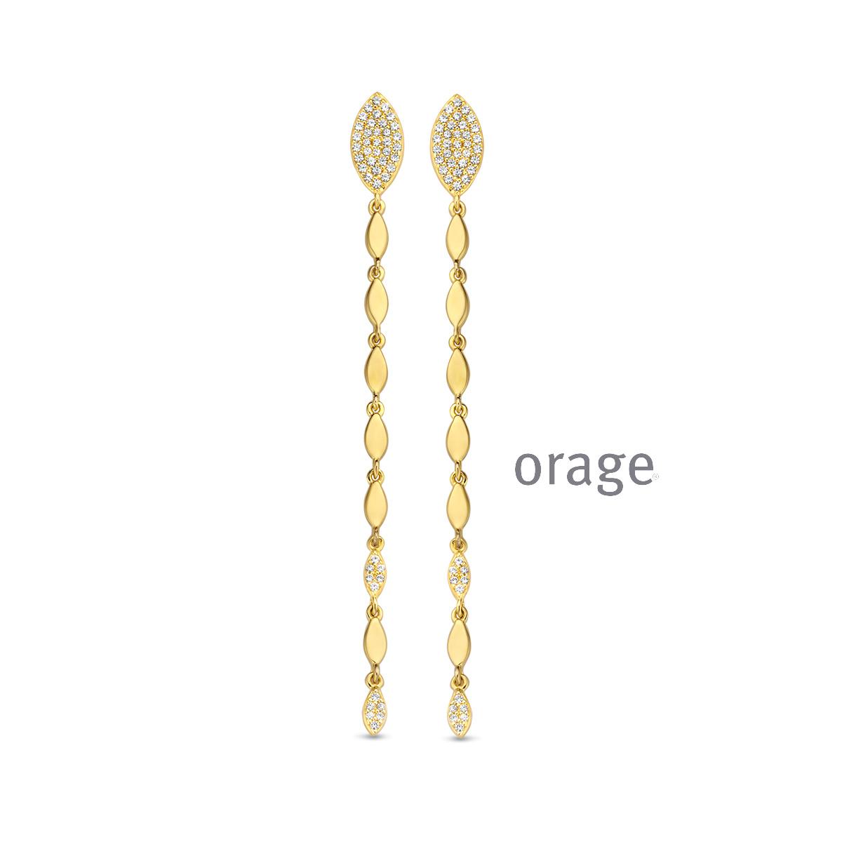 Orage AR121 Oorslingers 50mm verguld geel goud cz