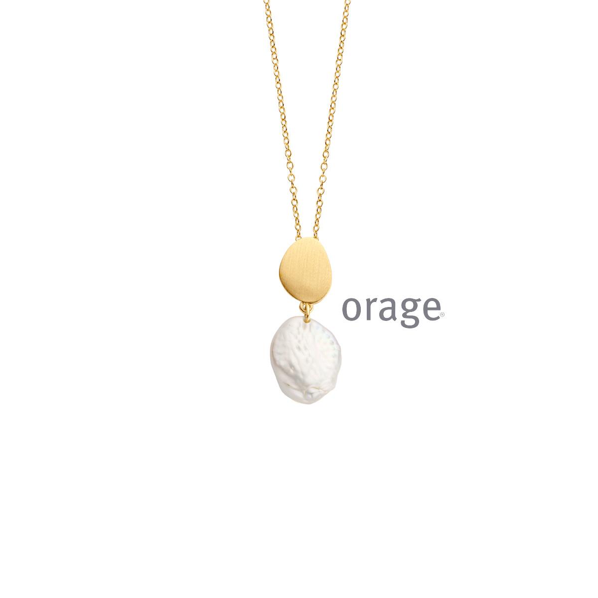 Orage AR050 Ketting parel verguld geel goud