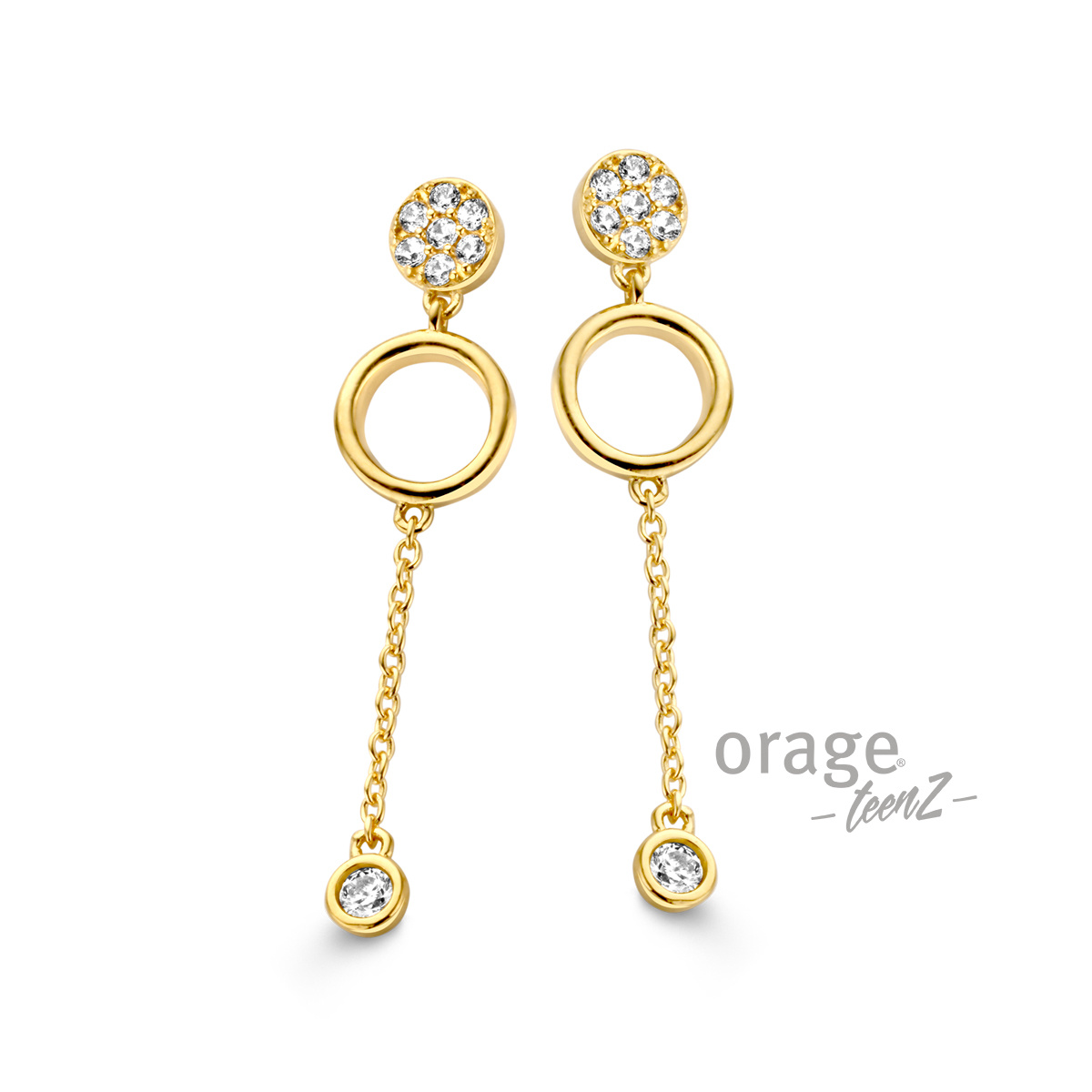 Orage T378-T251 Oorslingers verguld geel goud cz