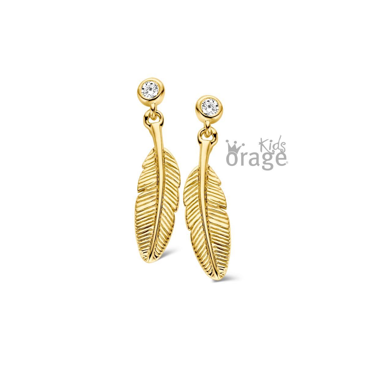 Orage K1834-K1787 Oorslingers veer verguld geel goud cz