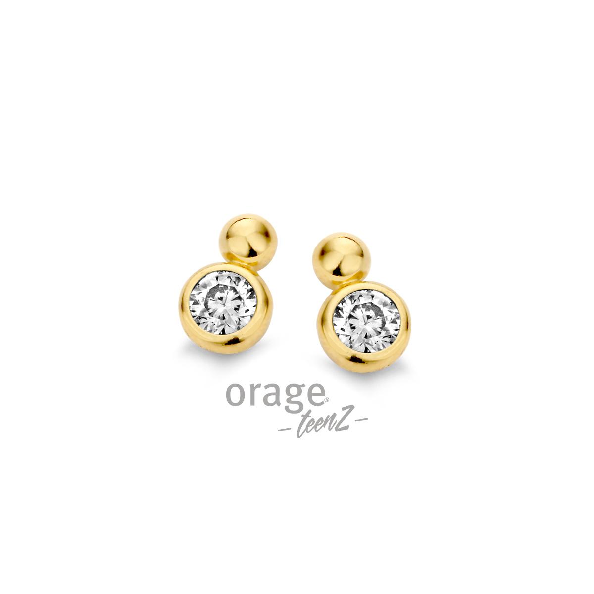 Orage T358-T253 Oorringen verguld geel goud cz
