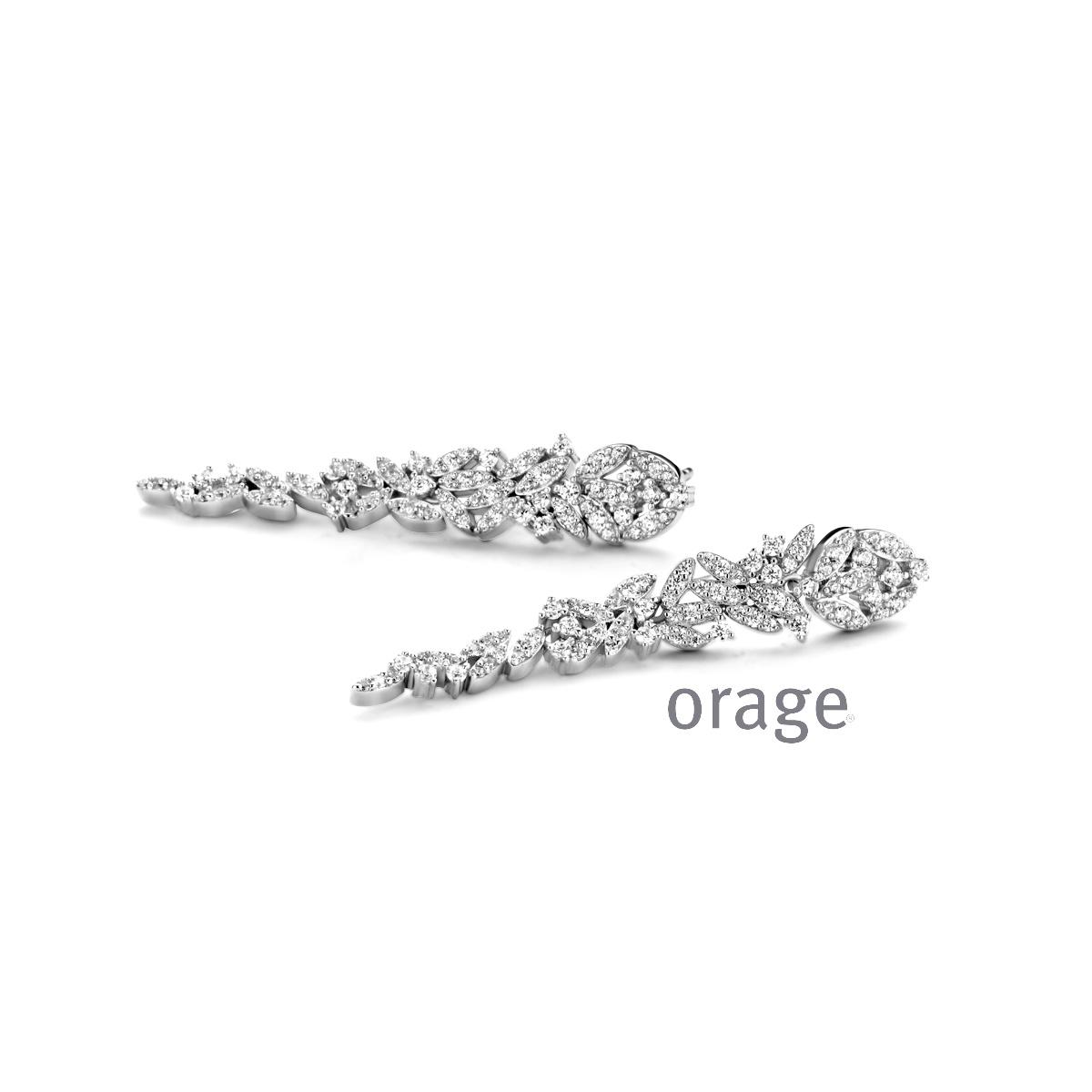 Orage AR108 oorbellen zilver zircoon