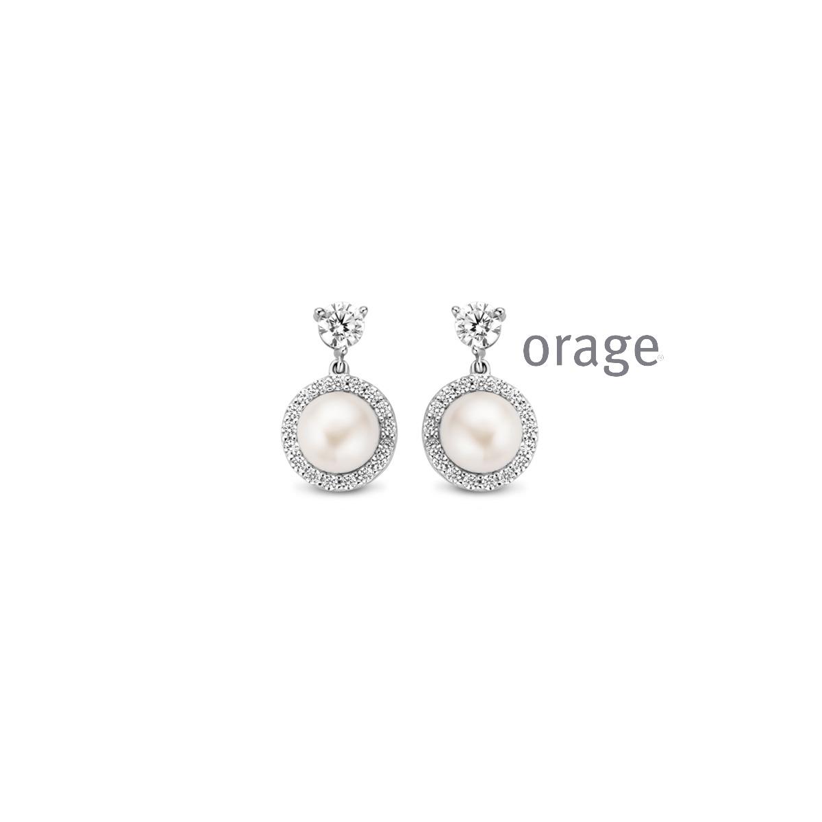 Orage AR104 oorbellen zilver met parel
