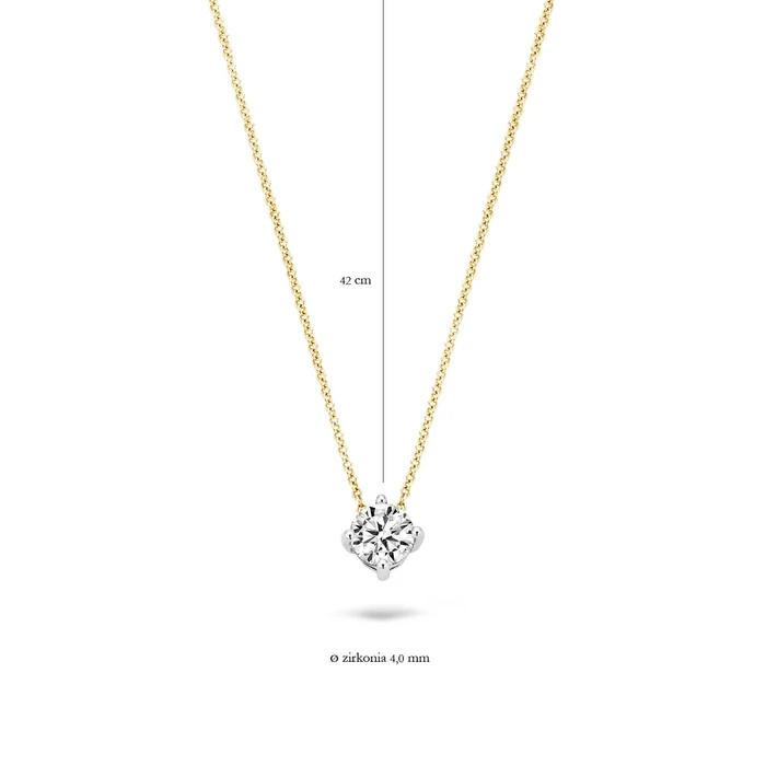 Blush Blush Ketting 3057BZI - Geel en Wit Goud (14Krt.) met Zirconia
