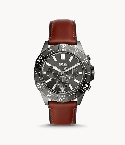 Fossil Garrett Chronograph Brown Leather Watch
