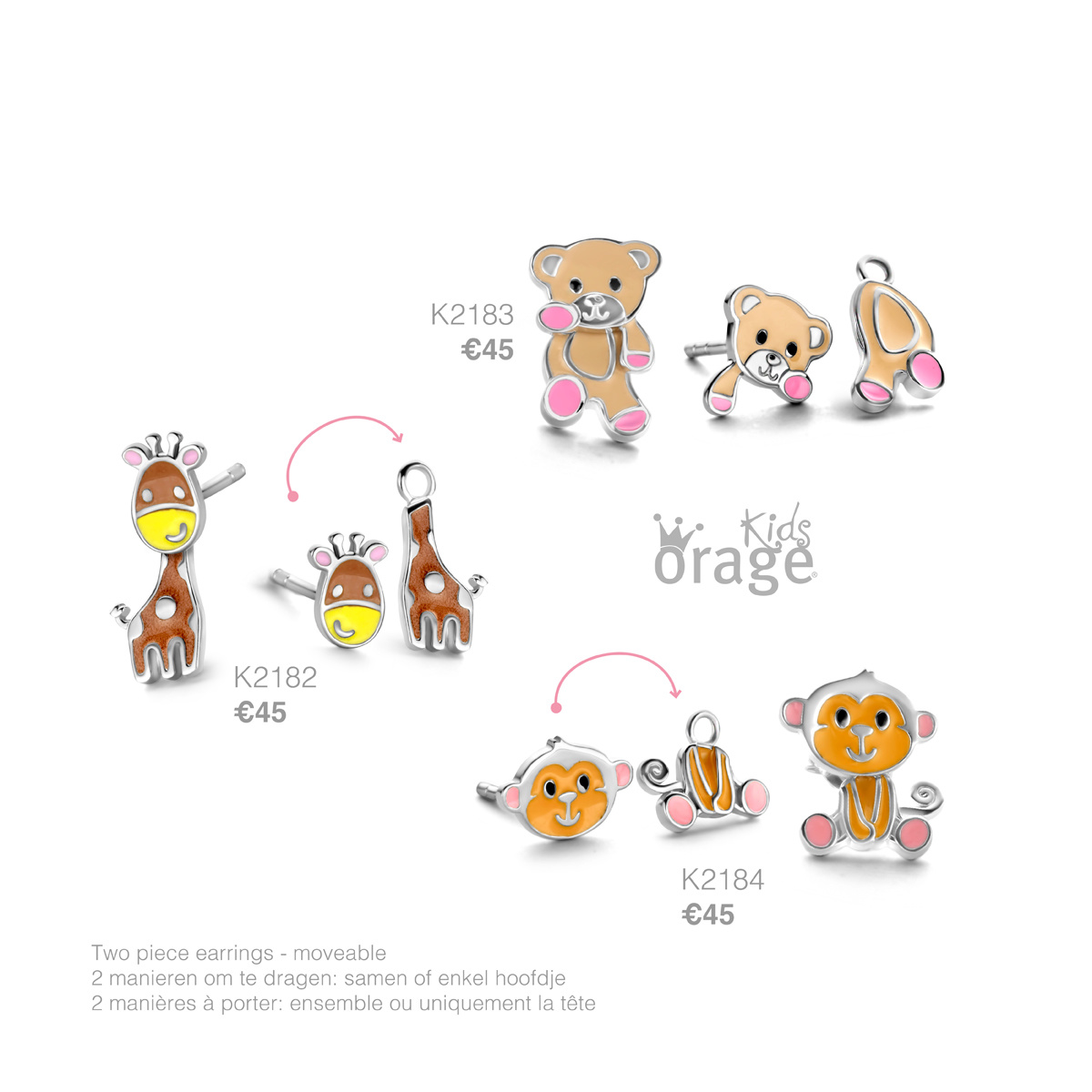 Orage kids Oorringen beer 925 rh