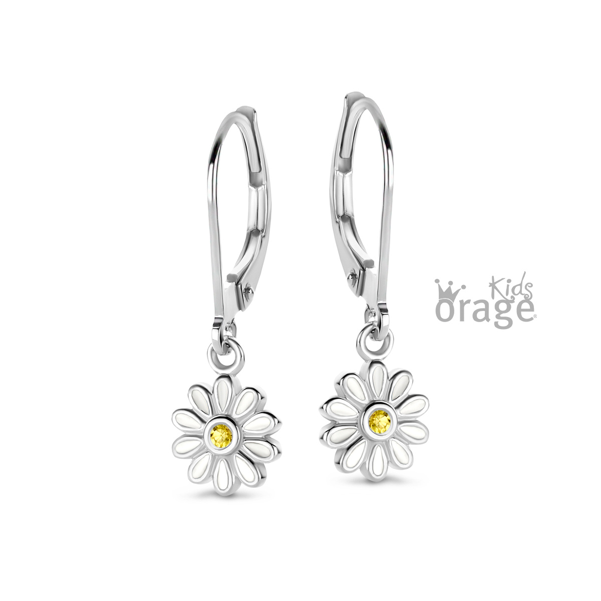 Orage kids Oorslingers bloem wit geel 925 rh