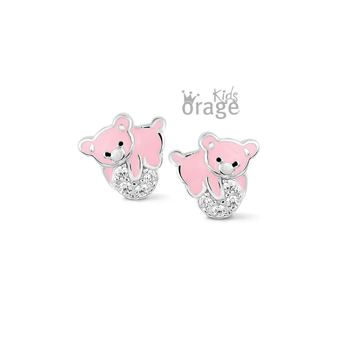 Orage kids Oorringen beer roze 925 rh