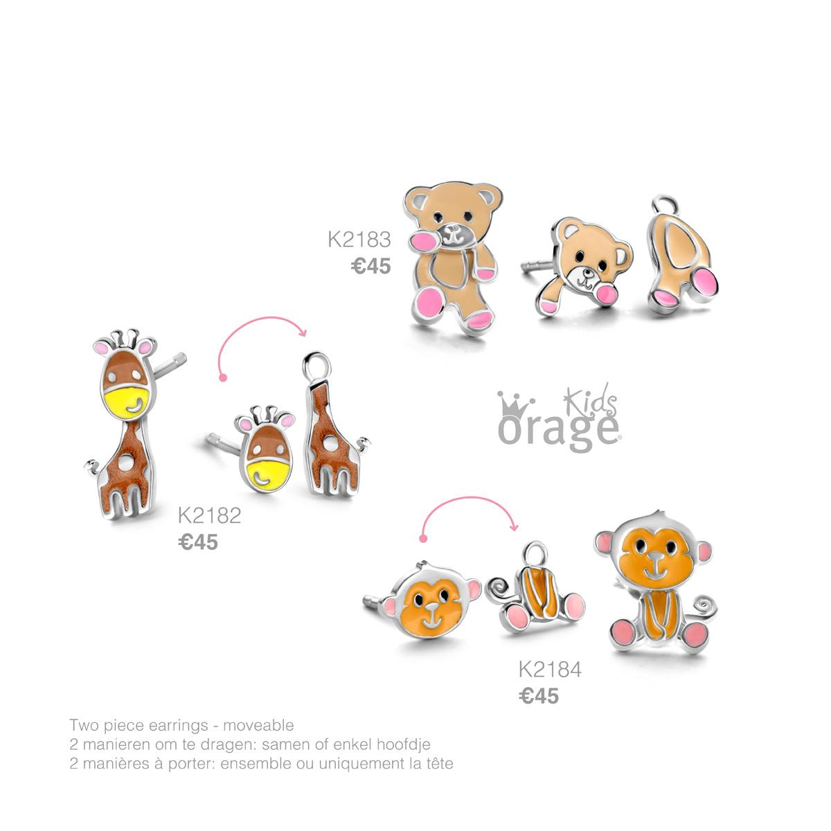 Orage kids Oorringen aap 925 rh